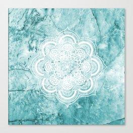 Mandala on teal marble. Canvas Print