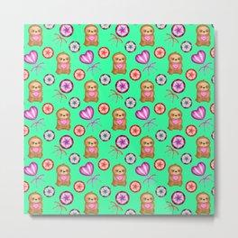 Funny happy little baby sloths, pink hearts. Sweet vintage retro lollipops. Cute green pattern. Metal Print