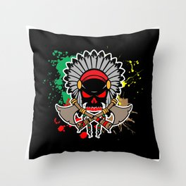 Native American Skull Ax Throw Pillow