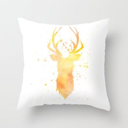 Watercolor deer head with antlers, Yellow Throw Pillow