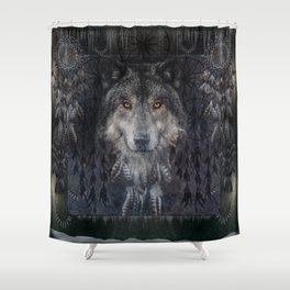 Winter mode - Wolf Dreamcatcher Shower Curtain