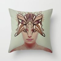 mask Throw Pillows featuring Mask by Adelle Rae