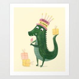 Happy Birthday Crocodile Art Print