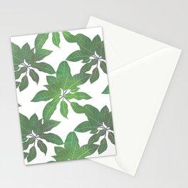Elegant tropical Green leaves White design Stationery Cards