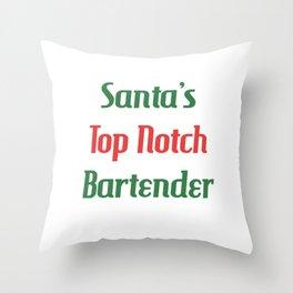 Santa's Top Notch Bartender Mixologist T-Shirt Throw Pillow