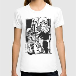 Chapter One: Never Talk with Strangers - b&w T-shirt