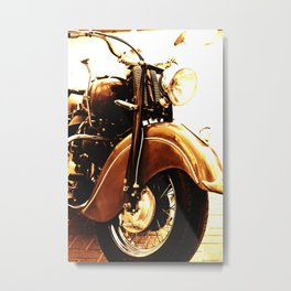 Motorcycle-Sepia Metal Print