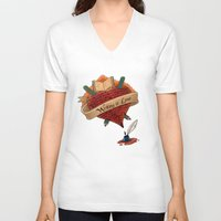 writing V-neck T-shirts featuring Writing is Love by gunberk
