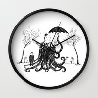 lovecraft Wall Clocks featuring Young Master Lovecraft Finds A Friend by Jon Turner