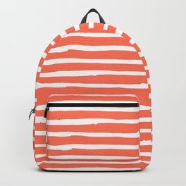 Thin Stripes White on Deep Coral Backpack