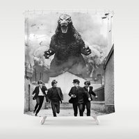 kaiju Shower Curtains featuring Fab Four Kaiju by MisterBlack