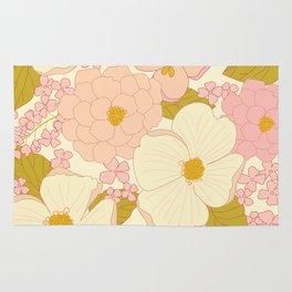 Pink Pastel Vintage Floral Pattern Rug
