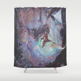 Through the wound of space and time. Shower Curtain