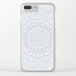 Light Gray Ethnic Eclectic Detailed Mandala Minimal Minimalistic Clear iPhone Case