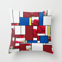 Red Rose Edges Art Rectangles 4 Throw Pillow