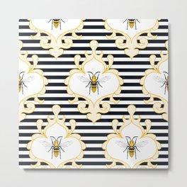 Bee Damask Queen Metal Print