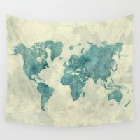posters Wall Tapestries featuring World Map Blue Vintage by City Art Posters