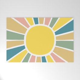 Retro Sunshine Welcome Mat