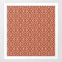 Living Coral Folky-Midcentury-modern Pattern Art Print