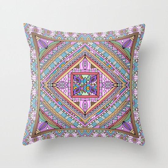 Sweet Funky Retro Mandala Throw Pillow