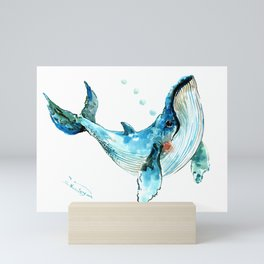 Humpback Whale Artwork Children Illustration Cute little Whale, whale design Mini Art Print