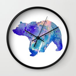 Bear Art Colorful Blue Purple Watercolor Art Gift Animals Lovers Gift Nature Gift Forests Art Wall Clock