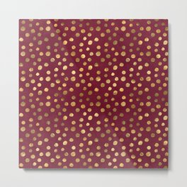 Beautiful Berry and Gold Thanksgiving Design Pattern Metal Print