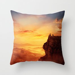 recalling childhood together Throw Pillow