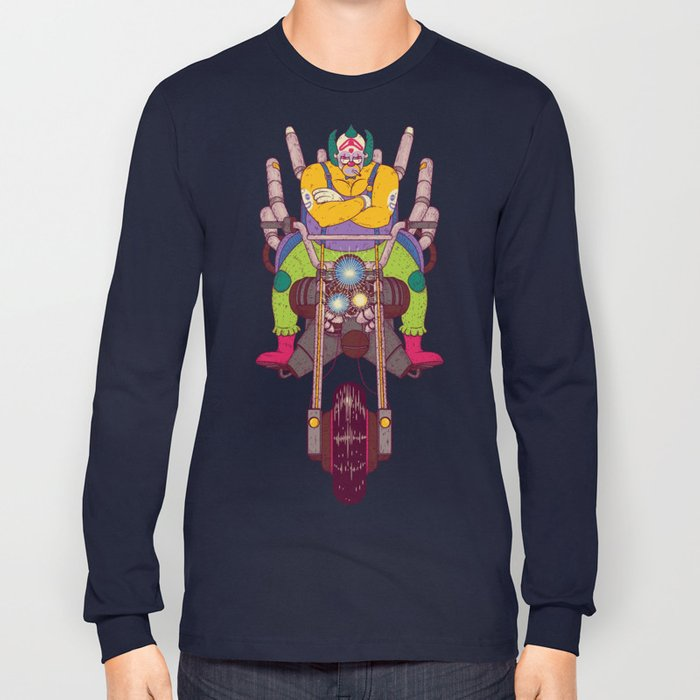 Great Sweatshirt Navy with application of a clown in canvas