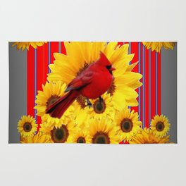 YELLOW SUNFLOWERS RED CARDINAL GREY  ART Rug