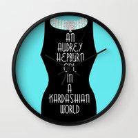 kardashian Wall Clocks featuring An Audrey Hepburn girl in a Kardashian world (in blue) by Miss Golightly