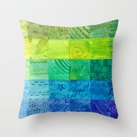 bali Throw Pillows featuring Bali Quilt by Catherine Holcombe