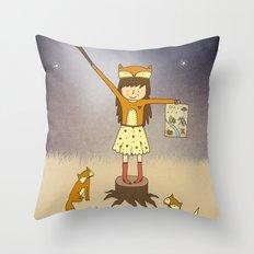 Little Fox Girl Throw Pillow