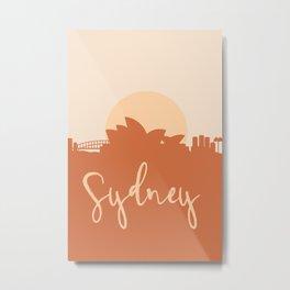 SYDNEY AUSTRALIA CITY SUN SKYLINE EARTH TONES Metal Print