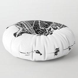 Street MAP Hong Kong // Black&White Floor Pillow