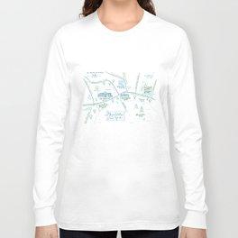 Skaneateles, New York Illustrated Calligraphy Print Long Sleeve T-shirt
