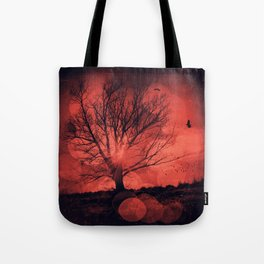 mars tree - tree silhouette in backlight Tote Bag