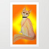 Firery Feline Art Print