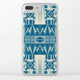 Art Deco Abstract Soft Teal Clear iPhone Case