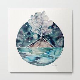 Stromboli Volcano at Midnight – Blue Palette Metal Print