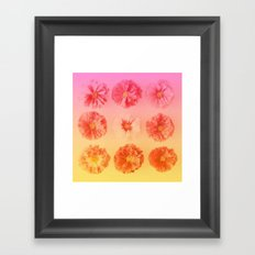 Gradient Flower Grid (Pink and Orange) Framed Art Print
