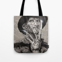 freddy krueger Tote Bags featuring freddy krueger by calibos