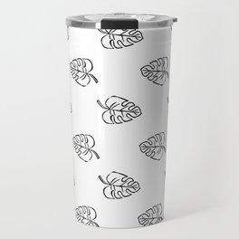 Mini monstera leaf linocut black and white basic art print minimalist gifts tropical leaves Travel Mug