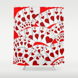 """DECORATIVE RED """"ROYAL FLUSH"""" IN RED HEARTS SUIT Shower Curtain"""