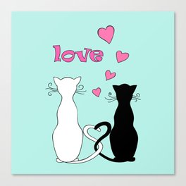 Couple cats with love Canvas Print