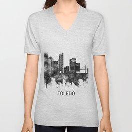 Toledo Ohio Skyline BW Unisex V-Neck