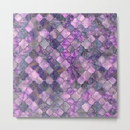 Quatrefoil Moroccan Pattern Lilac Fluorite Metal Print
