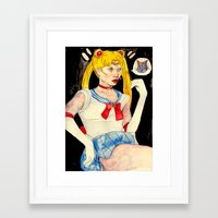sailor moon Framed Art Prints featuring sailor moon by withapencilinhand