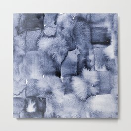 Indigo Watercolor Geometric Abstract Metal Print
