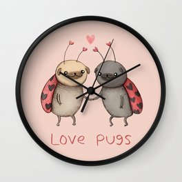 Love Pugs Wall Clock
